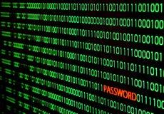 Binarny kod z hasło kradzieżą Zdjęcie Stock