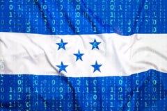 Binarny kod z Honduras flaga, dane ochrony pojęcie Obrazy Royalty Free