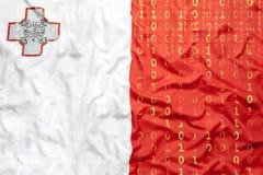 Binarny kod z Malta flaga, dane ochrony pojęcie Obrazy Stock