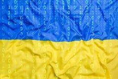 Binarny kod z Ukraina flaga, dane ochrony pojęcie Zdjęcie Royalty Free