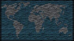 Binarny mapa świat Zdjęcie Royalty Free