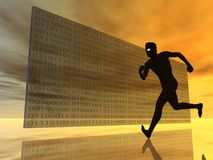Binary. Runner in front of glasswall with binary code - 3d illustration Royalty Free Stock Photos