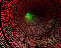 Binary. Abstract image of tunnel with binary language vector illustration