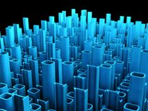 Binary abstract city, 3d tech background Stock Photography