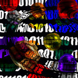Binary Abstraction. Warped Binary spheres in a square and colorful abstraction Stock Images