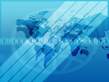 Binary Background. Blue gradient background with worldmap, shapes, numbers etc royalty free illustration