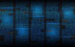 Binary background. Abstract streaming code. Matrix digits on dark backdrop. Blue columns with lights. Hacked concept. Vector illustration royalty free illustration