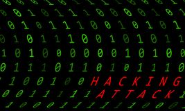 Binary background with hacking attack sign on black background.  Royalty Free Stock Photos