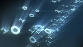 Binary bits and bytes computer numbers particles. 3D rendering. 3D rendering of light and bright number particles. Glittering bits and bites, zero and one royalty free illustration