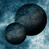 Binary Black Planets System Stock Image