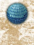 Binary Blue Sphere. Binary numbered sphere on textured background Stock Images