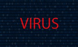 Binary blue The word red virus Computer virus concept binary code background royalty free illustration