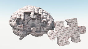 Binary Brain Puzzle. Binary Code Brain with Puzzle Piece Removed Royalty Free Stock Photo
