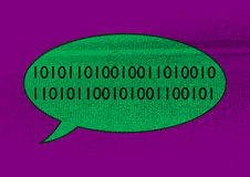 Binary Bubble. A colourful and grunged speech bubble design with binary code Royalty Free Stock Image