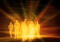 Binary Business People. Five business people with world and numbers Stock Photo