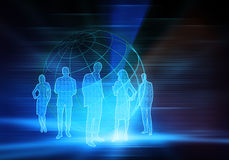 Binary Business People. Five business people with world and numbers Royalty Free Stock Image