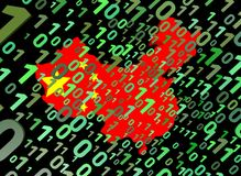 Binary and China map flag Stock Image