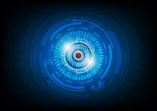 Binary circuit board future technology, blue eye cyber security. Concept background Stock Photo