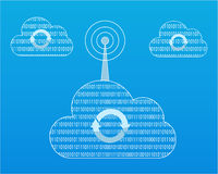 Binary Cloud Syncing. Binary cloud broadcasting to other clouds Royalty Free Stock Images