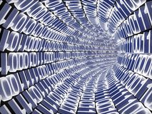 Binary code. A binary tunnel concept. Computer render Royalty Free Stock Photo