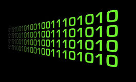 Binary Code. Green Zero And One Lines On A Black Background, Technology Abstract Stock Photos