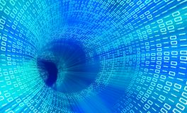 Binary code. 3d technology blue tunnel with  binary code Royalty Free Stock Image