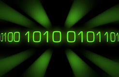 Binary code. With green rays. Black background stock illustration