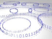 Binary code. 3D blue binary code 0101 circles on reflective surface Royalty Free Stock Image