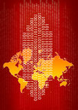Binary code. On the world map Stock Photography