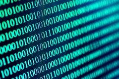 Binary code abstract background. Modern Technology internet communication and network data in cyberspace concept, blue toned stock photo