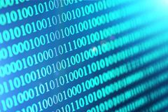 Binary code abstract background. Modern Technology internet communication and network data in cyberspace concept. Blue toned Royalty Free Stock Image