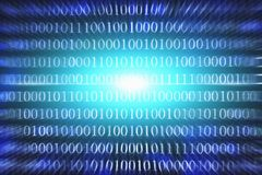 Binary code abstract background. Modern Technology internet communication and network data in cyberspace concept. Blue toned Royalty Free Stock Photos