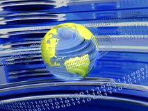 Binary code around the world Stock Image
