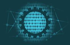 Binary code backdrop. Binary code background with digits on screen. Algorithm binary, data code, decryption and encoding, row matrix royalty free illustration