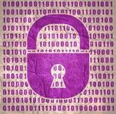 Binary code backdrop. Binary code background with lock icon. Algorithm binary, data code, decryption and encoding, row matrix. Cyber security concept stock illustration