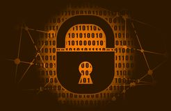 Binary code backdrop. Binary code background with lock icon. Algorithm binary, data code, decryption and encoding, row matrix. Cyber security concept royalty free illustration