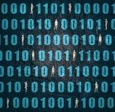 Binary code backdrop. Binary code background with silhouettes of women. Algorithm binary, data code, decryption and encoding, row matrix stock illustration
