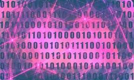 Binary code backdrop. Binary code background with digits on screen. Algorithm binary, data code, decryption and encoding, row matrix. Flash lights royalty free illustration