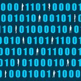 Binary code backdrop. Binary code background with silhouettes of women. Algorithm binary, data code, decryption and encoding, row matrix royalty free illustration