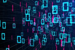 Binary code background. Abstract binary code background. Computing and technology concept. 3D Rendering Stock Photography