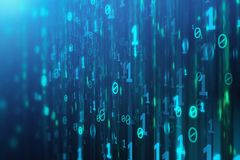 Binary code background. Abstract blue binary code background. Programming, coding, hacker, matrix concept. 3D Rendering Stock Photography