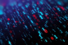 Binary code background. Abstract blue binary code background. Programming, coding, hacker, matrix concept. 3D Rendering Royalty Free Stock Image