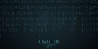 Binary code background. Blue glow. Falling figures. Global network. High technologies, programming, sci-fi. Vector illustration. EPS 10 Royalty Free Stock Images