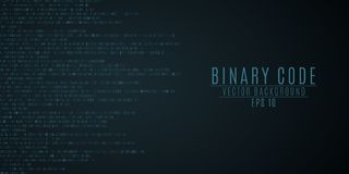 Binary code background. Blue glow. High technologies, programming, sci-fi. Vector illustration. EPS 10 stock illustration