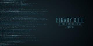 Binary code background. Blue glow. Motion blur. High technologies, programming, sci-fi. Vector illustration. EPS 10 stock illustration