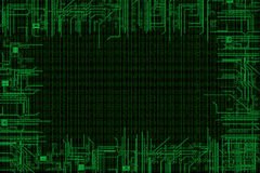 Binary code background, with computer circuit in border Royalty Free Stock Photography
