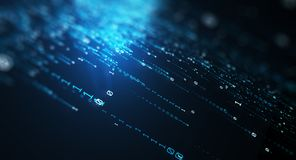 Binary code  background. 3D illustration.  Blue bytes of binary code flying through a vortex, background code depth of field Royalty Free Stock Photo