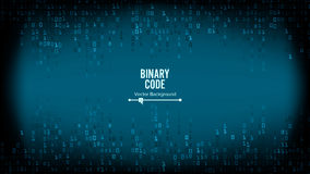 Binary Code Background Vector. Algorithm Binary, Data Code, Decryption And Encoding, Row Matrix Stock Photo