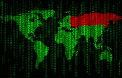 Binary code background with world map Stock Photo