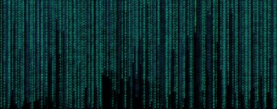 Binary code banner. Data and technology, decryption and encrypt Stock Images